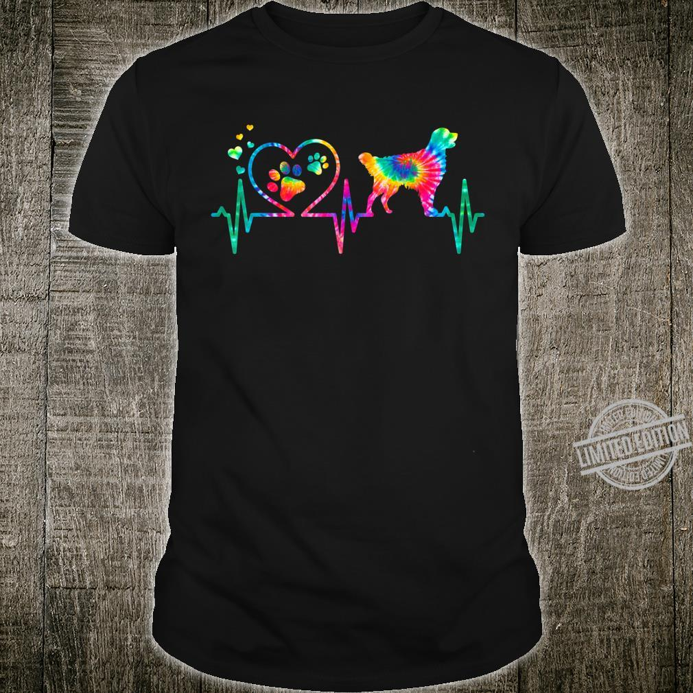 Golden Retriever Mom Dad Heartbeat Tie Dye Dog Shirt