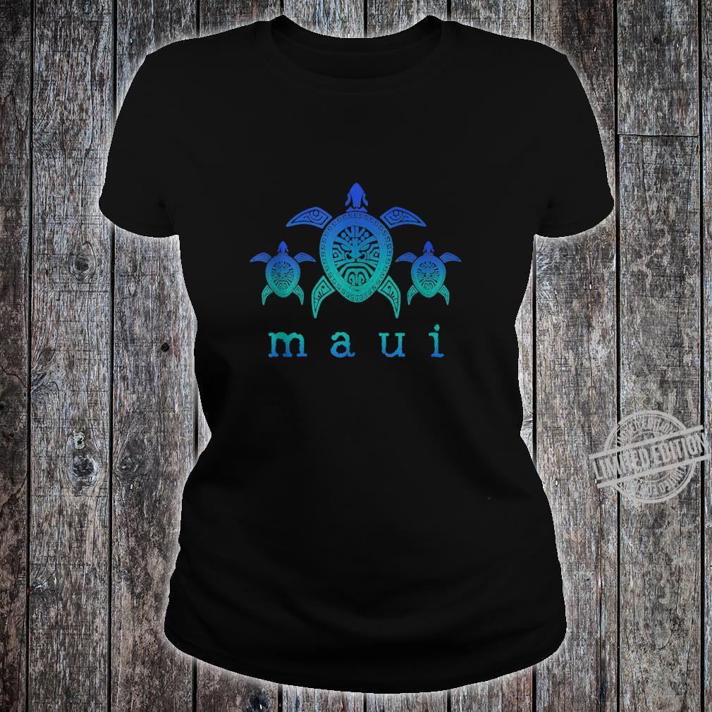 Maui Hawaii Sea Turtles Hawaiian Scuba Diving Souvenir Shirt ladies tee