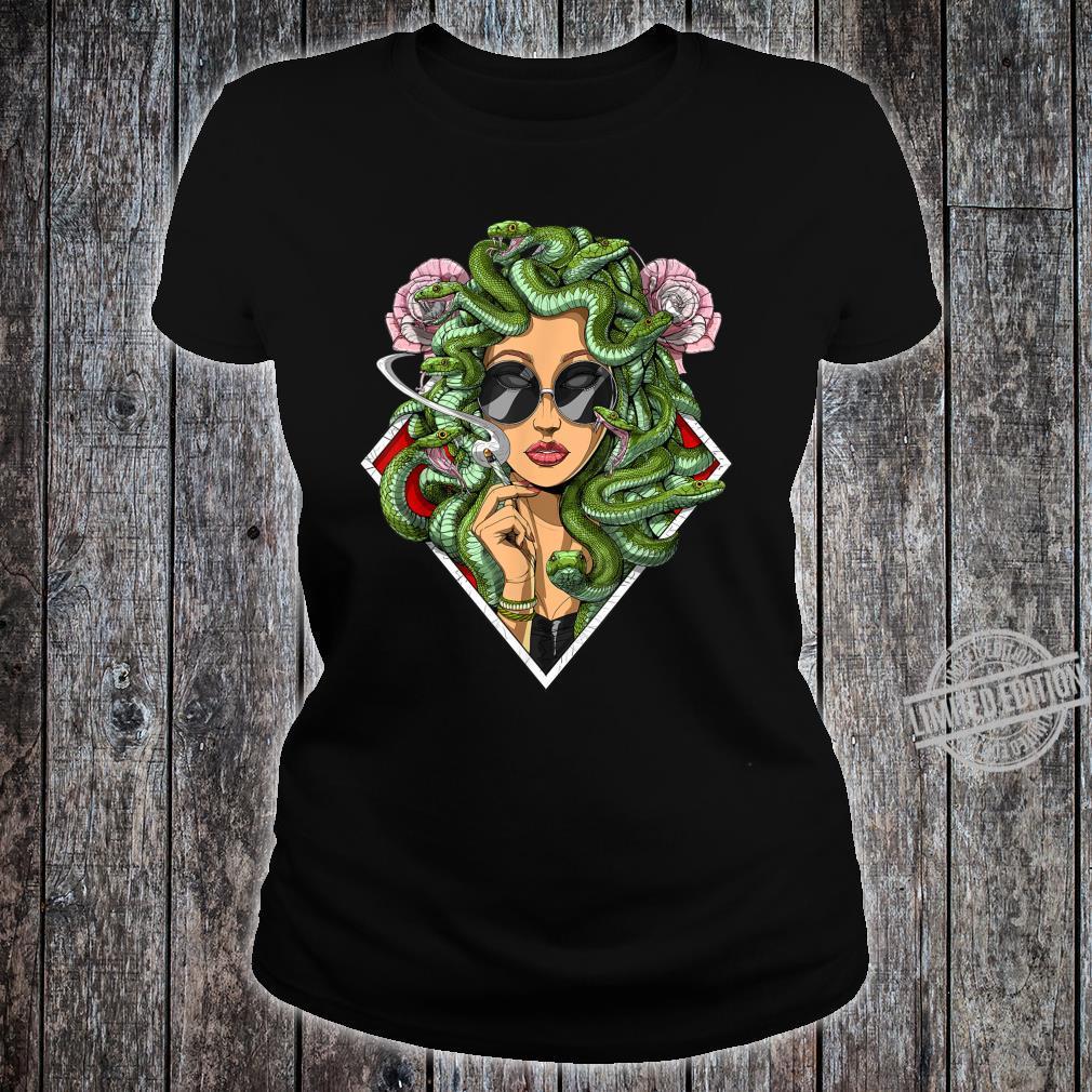 Medusa Kiffer Cannabis Marihuana Ganja Hippie Festival Shirt ladies tee