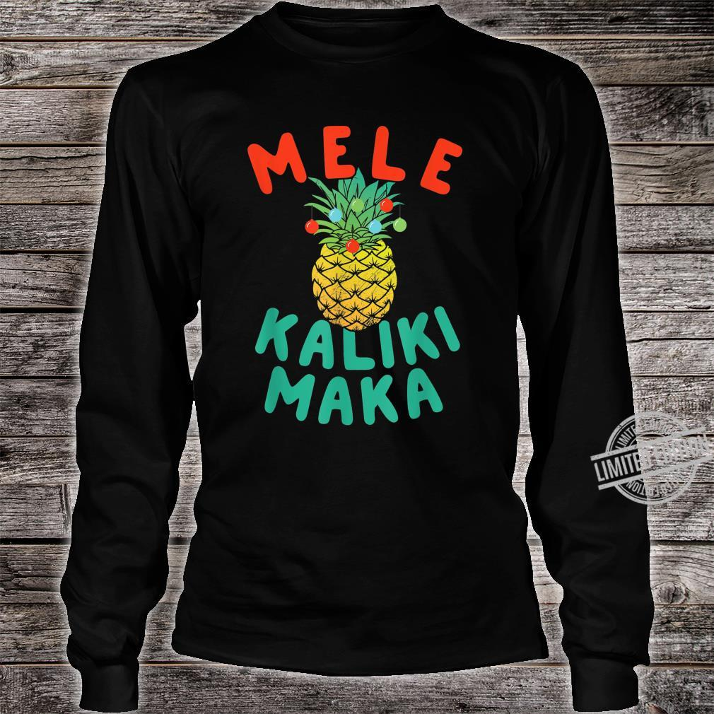 Mele Kalikimaka Hawaii Hawaiian Christmas Pineapple Shirt long sleeved