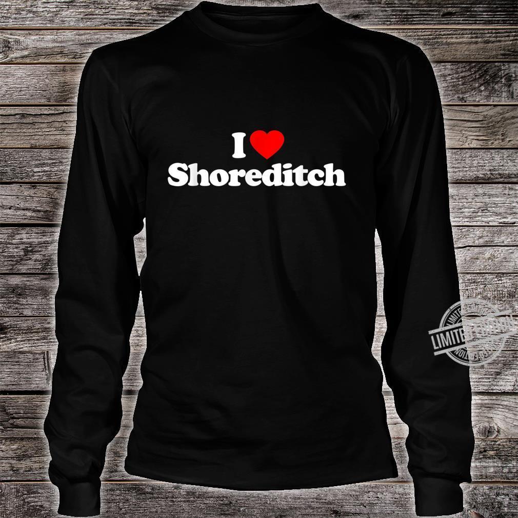 Mens I Love Shoreditch Heart British Tourist Souvenir Shirt long sleeved
