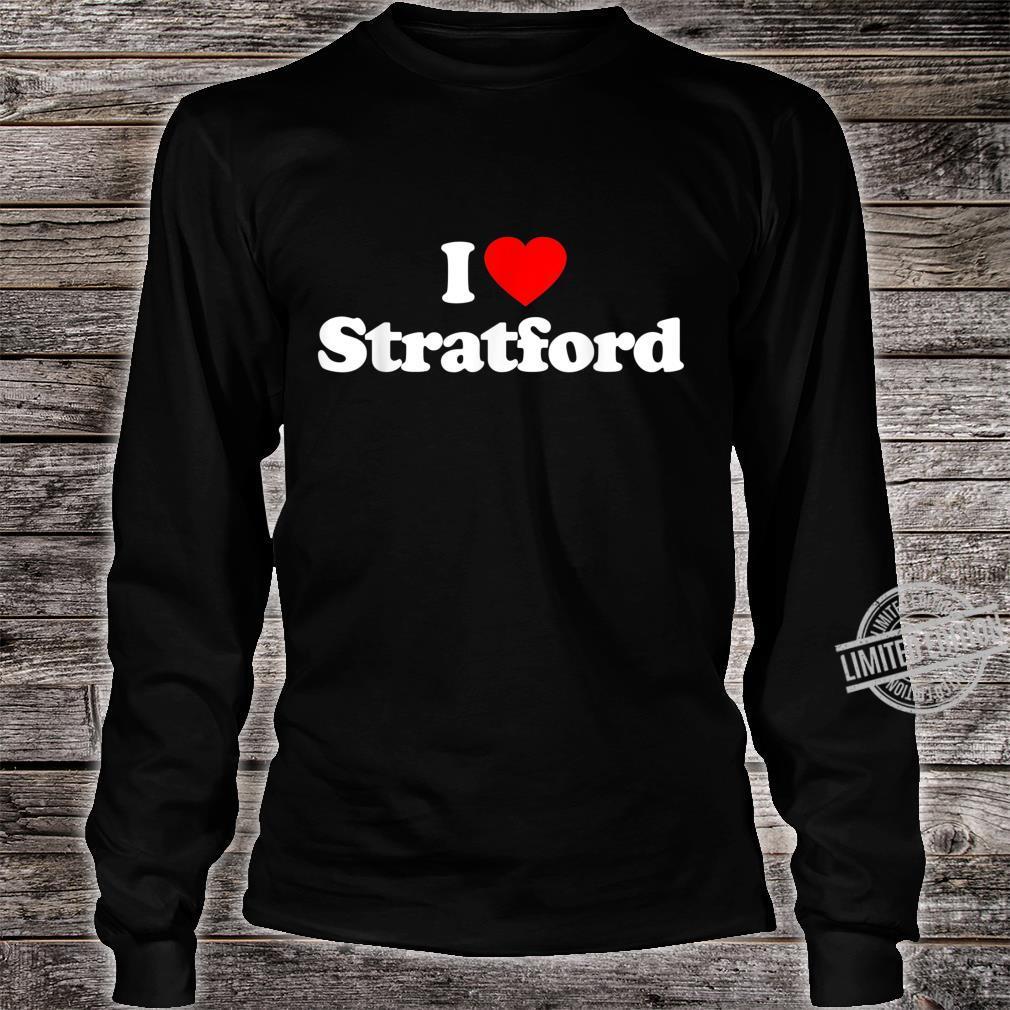 Mens I Love Stratford Heart British Tourist Souvenir Shirt long sleeved