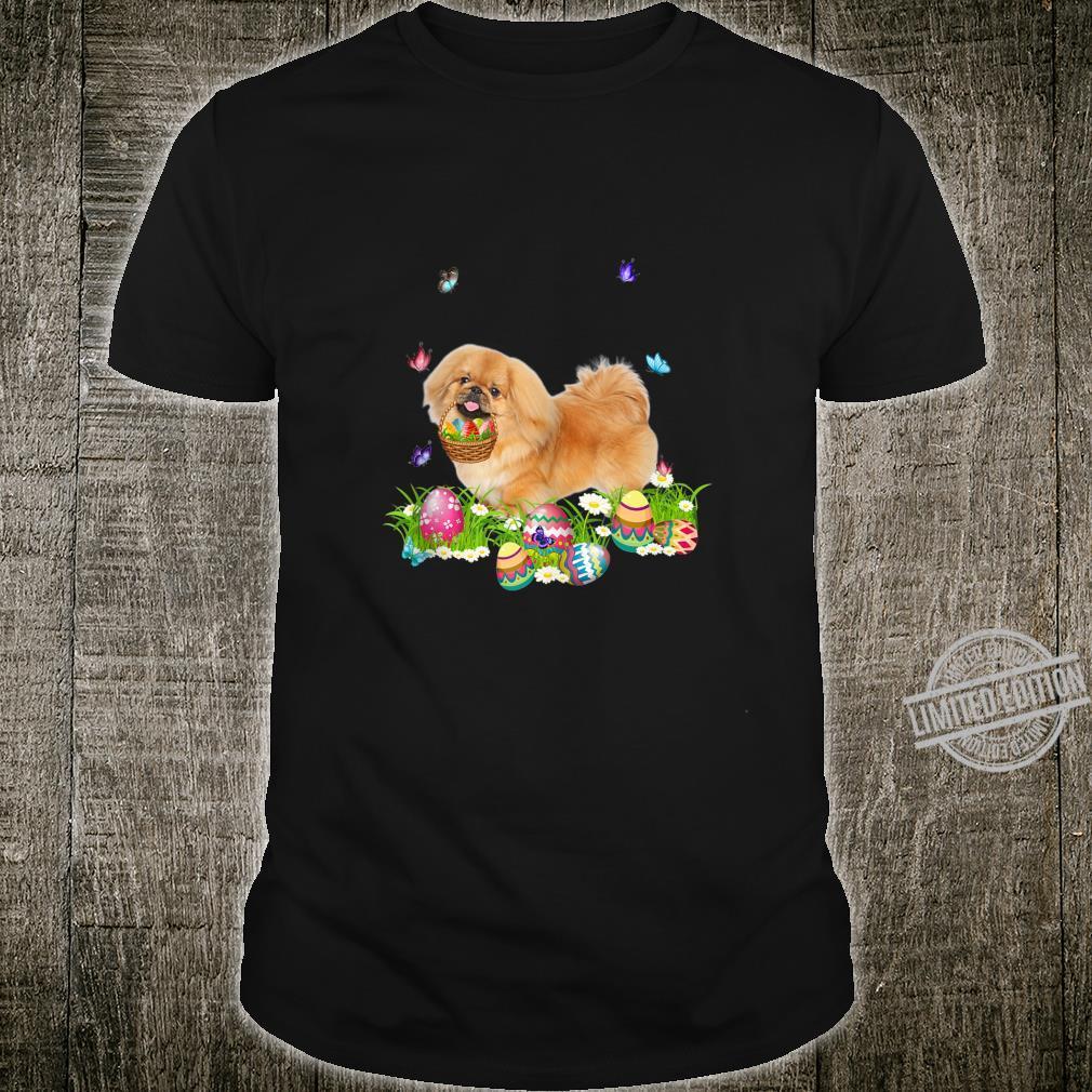 Pekingese Bunny Dog With Easter Eggs Basket Butterflies Shirt