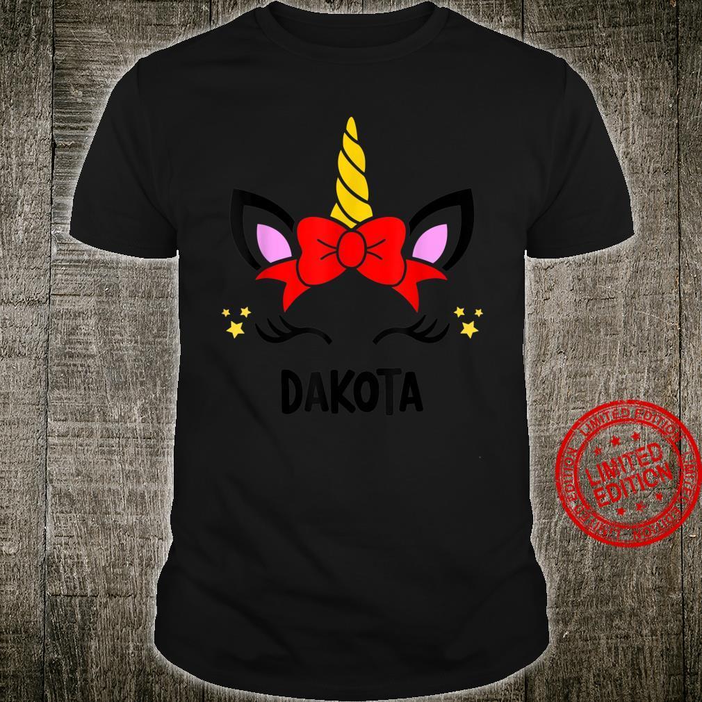 Red Bow Unicorn Face Personalised DAKOTA Shirt