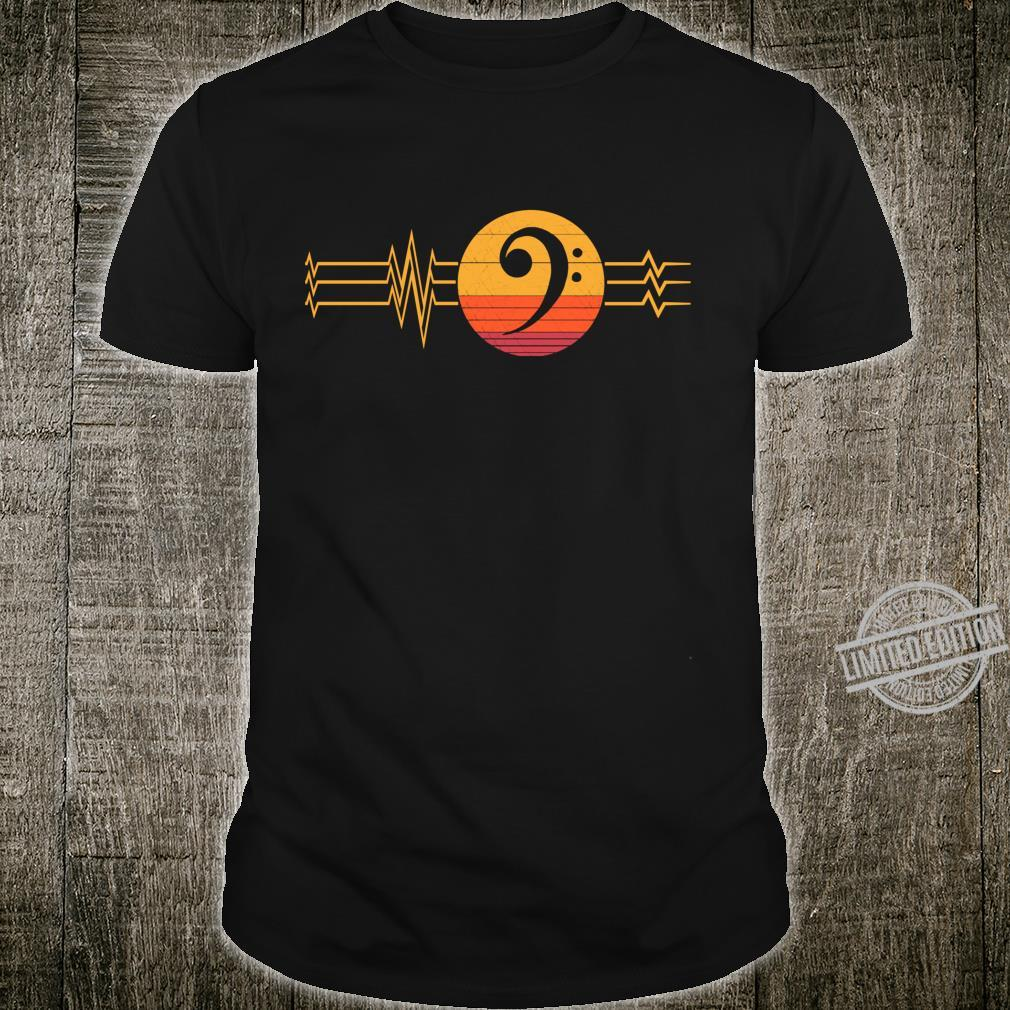 Retro Heartbeat Bass Clef Notes Lifeline Vintage Music Shirt
