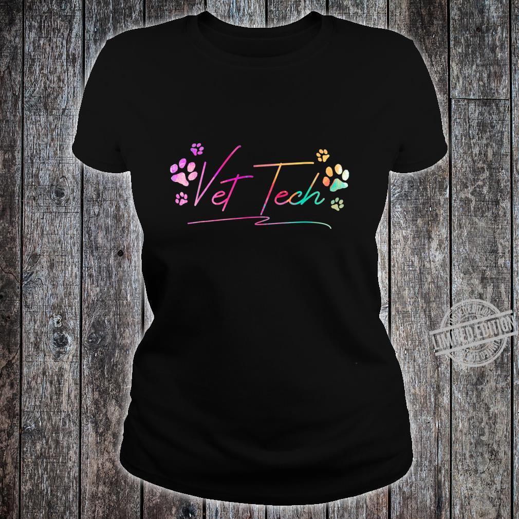 Vet Tech Pawprint Veterinary Technician Shirt ladies tee